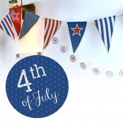 Downloadable American bunting and cupcake decoration